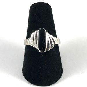 Sterling Silver Vintage Black Onyx Ring Size 6.75